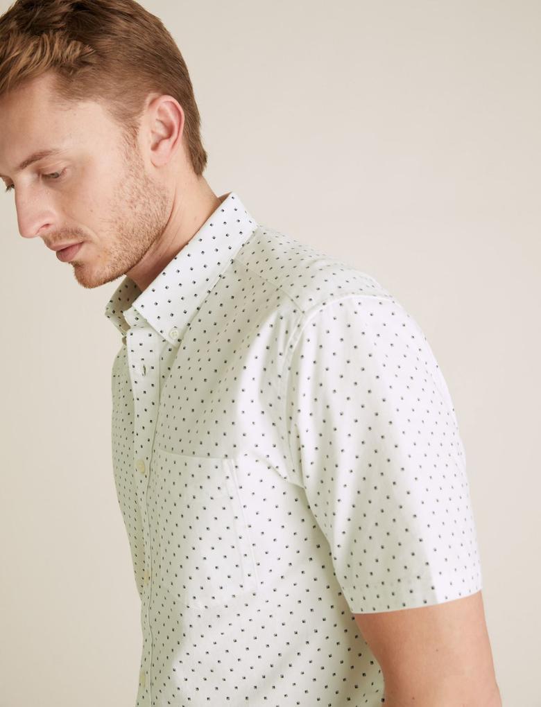 Erkek Beyaz Saf Pamuklu Oxford Gömlek