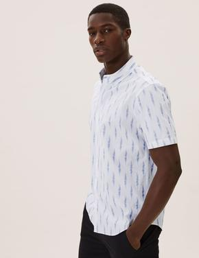 Erkek Beyaz Saf Pamuklu Ikat Baskılı Gömlek