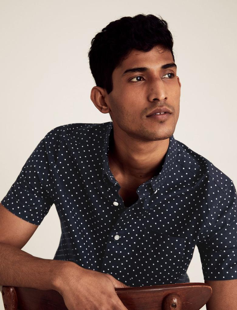 Erkek Lacivert Saf Pamuklu Oxford Gömlek