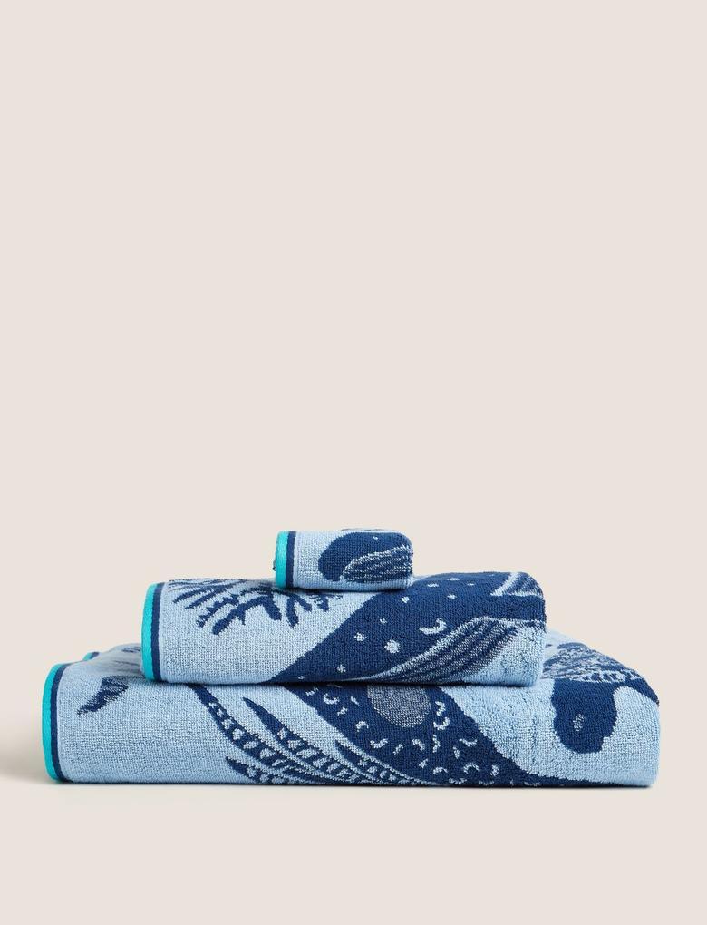 Ev Mavi Saf Pamuk Denizaltı Desenli Havlu