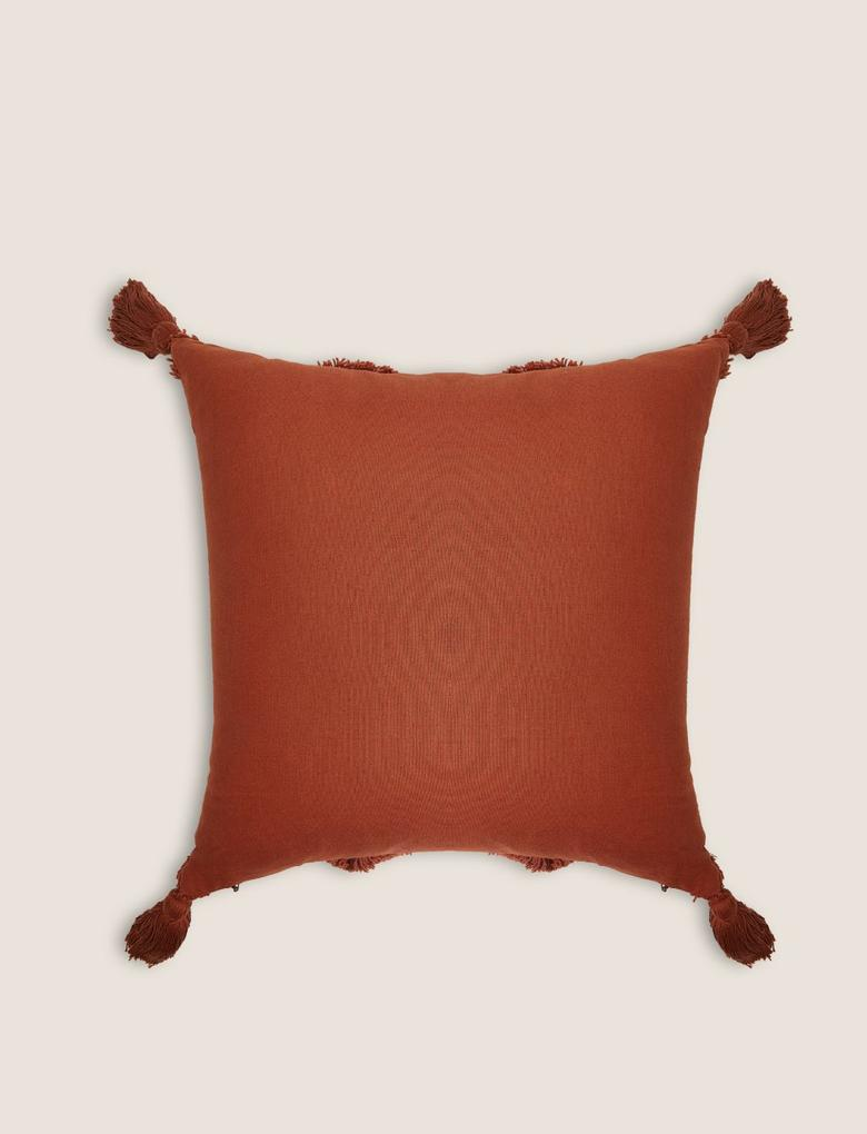 Ev Kahverengi Pamuklu Püskül Detaylı Yastık