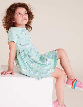 Kız Çocuk Mavi Pamuklu Desenli Elbise