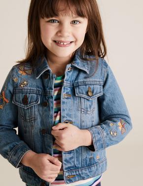 Kız Çocuk Mavi Denim Desenli Ceket