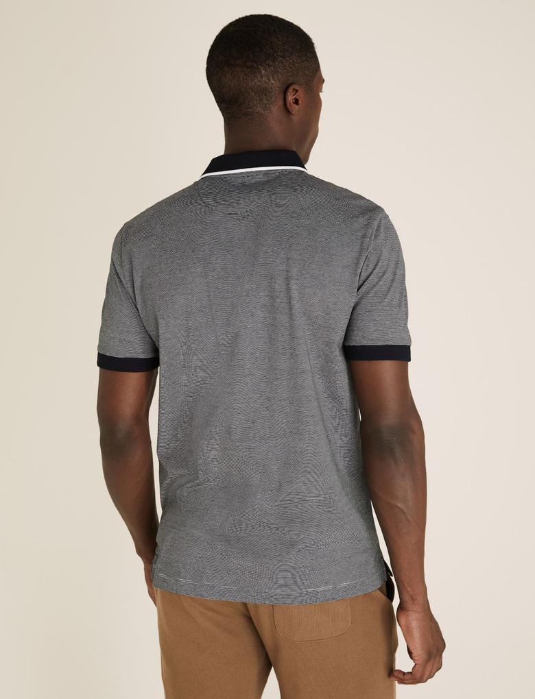 Lacivert Pamuklu Polo Yaka T-Shirt