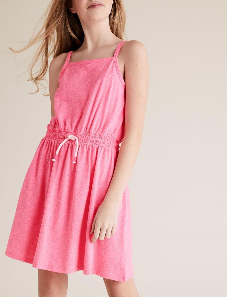 Kız Çocuk Pembe Kemer Detaylı Elbise