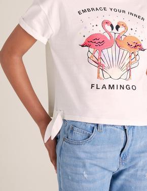 Kız Çocuk Beyaz Flamingo Desenli T-Shirt