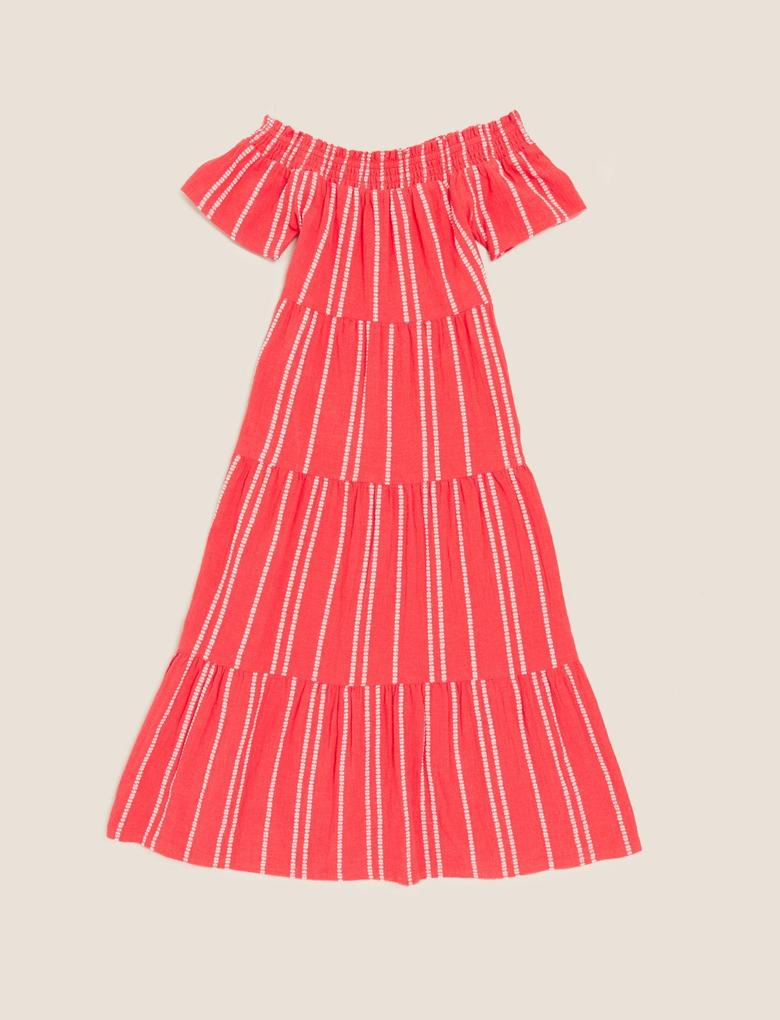 Kız Çocuk Kırmızı Çzigili Pamuklu Elbise