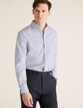 Erkek Lacivert Ütü Gerektirmeyen Regular Fit Gömlek