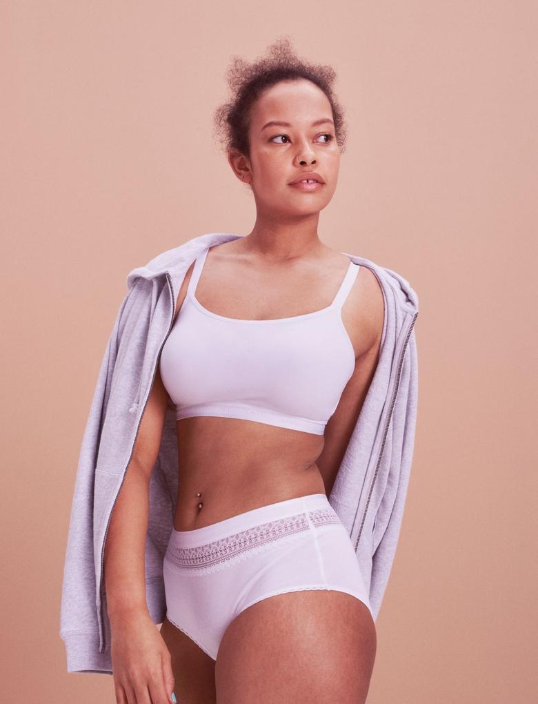 Kadın Beyaz Comfort™ Pamuklu Bralet