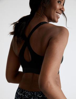 Kadın Siyah Orta Düzey Etkili Spor Sütyeni