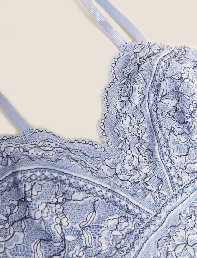 Kadın Mavi Dantelli Balensiz Bralet Sütyen