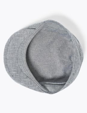 Erkek Lacivert Keten Dokulu Şapka