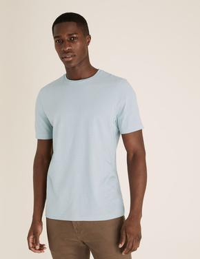 Erkek Mavi Pamuklu T-Shirt