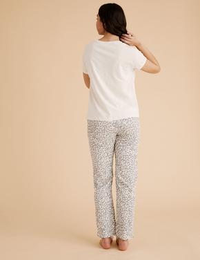 Kadın Krem Leopar Desenli Pijama Takımı