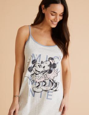 Kadın Gri Mickey Mouse™ İnce Askılı Gecelik