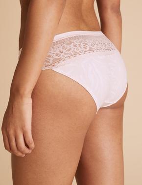 Kadın Pembe 3'l Low Rise Bikini Klot Seti