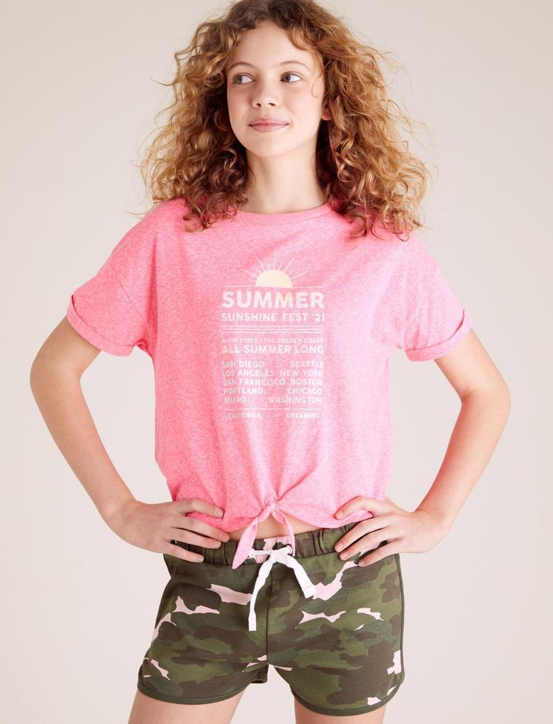 Kız Çocuk Pembe Slogan Baskılı T-Shirt