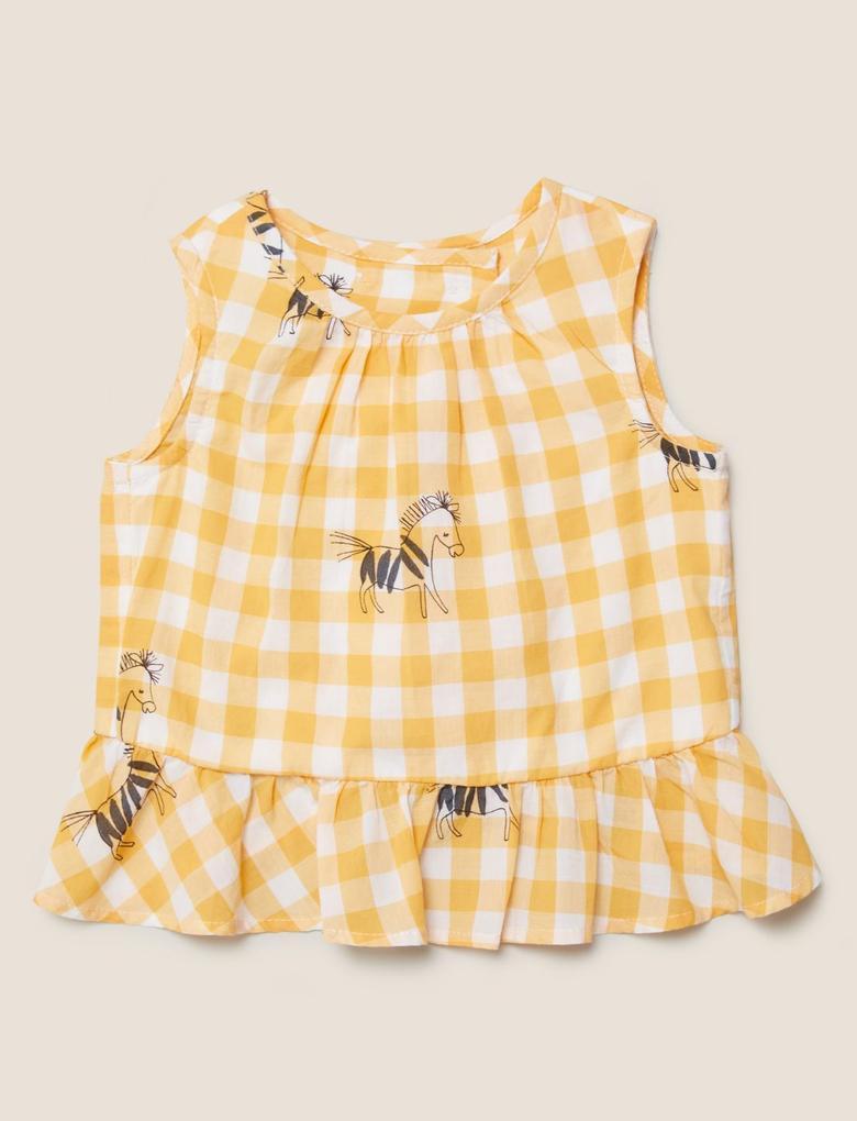 Bebek Sarı 2'li Zebra Desenli Takım