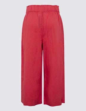 Kadın Kırmızı Keten Crop Pantolon