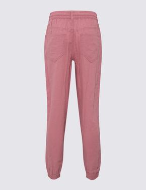 Kadın Pembe Keten Pantolon