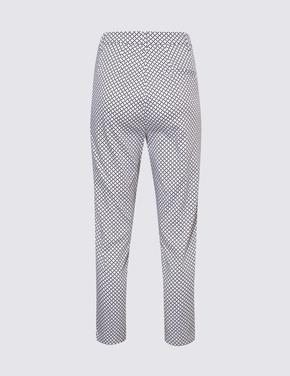Kadın Siyah Geometrik Desenli Crop Pantolon