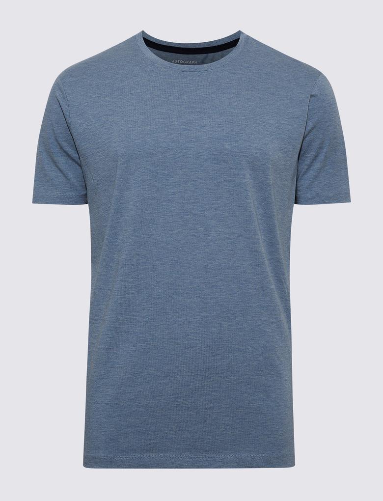 Erkek Mavi Premium Pamuklu Kısa Kollu Atlet