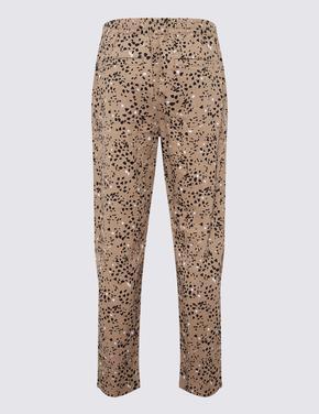 Kadın Multi Renk Keten Karışımlı Tapered Pantolon