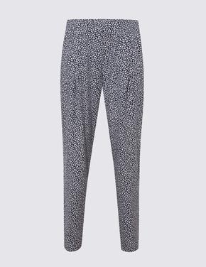 Kadın Lacivert Yaprak Desenli Tapered Pantolon
