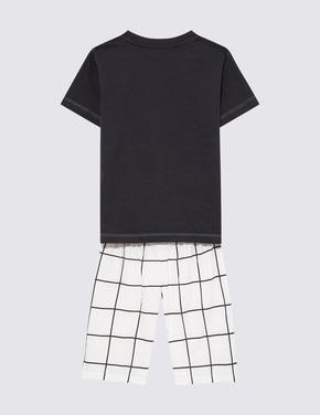 Çocuk Siyah 2'li Ekose Şortlu Pijama Takımı