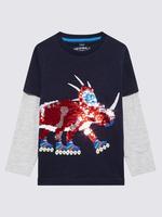 Erkek Çocuk Lacivert Dinozor Baskılı T-Shirt