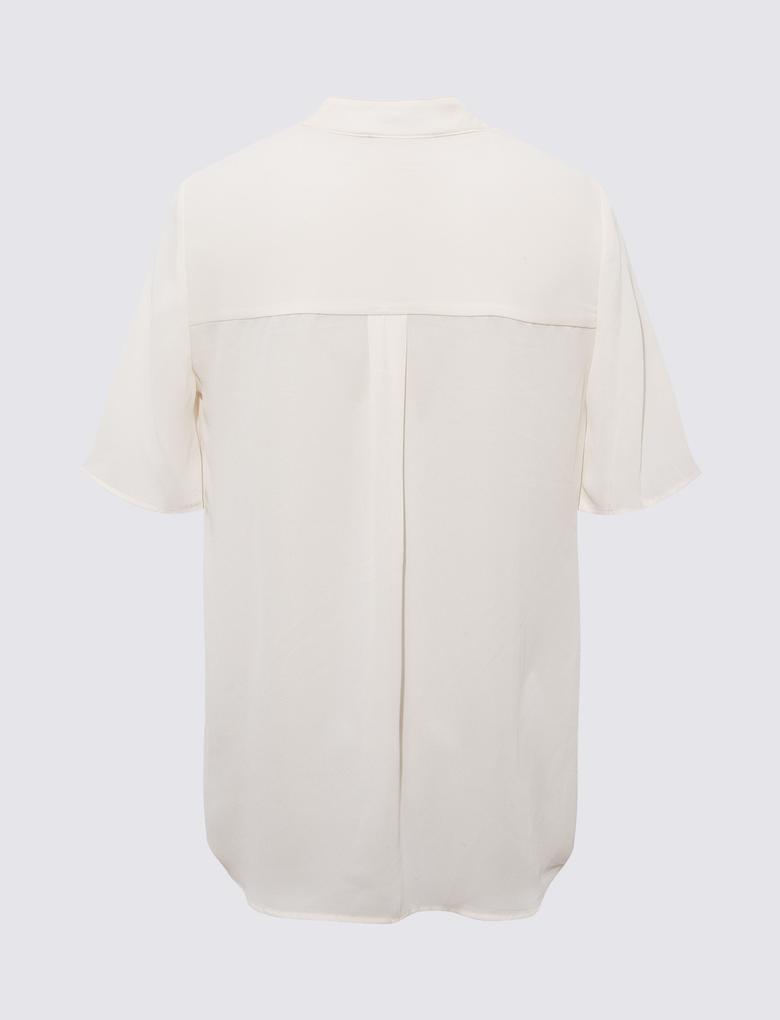 Kadın Krem Pamuklu Gömlek