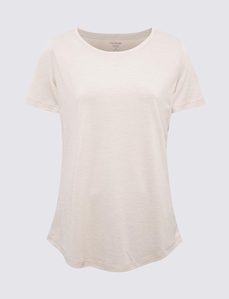 Kadın Bej Relaxed Fit T-Shirt