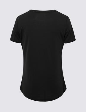 Kadın Siyah Relaxed Fit T-Shirt
