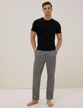 Erkek Siyah Pamuklu Tencel™ Pijama Altı