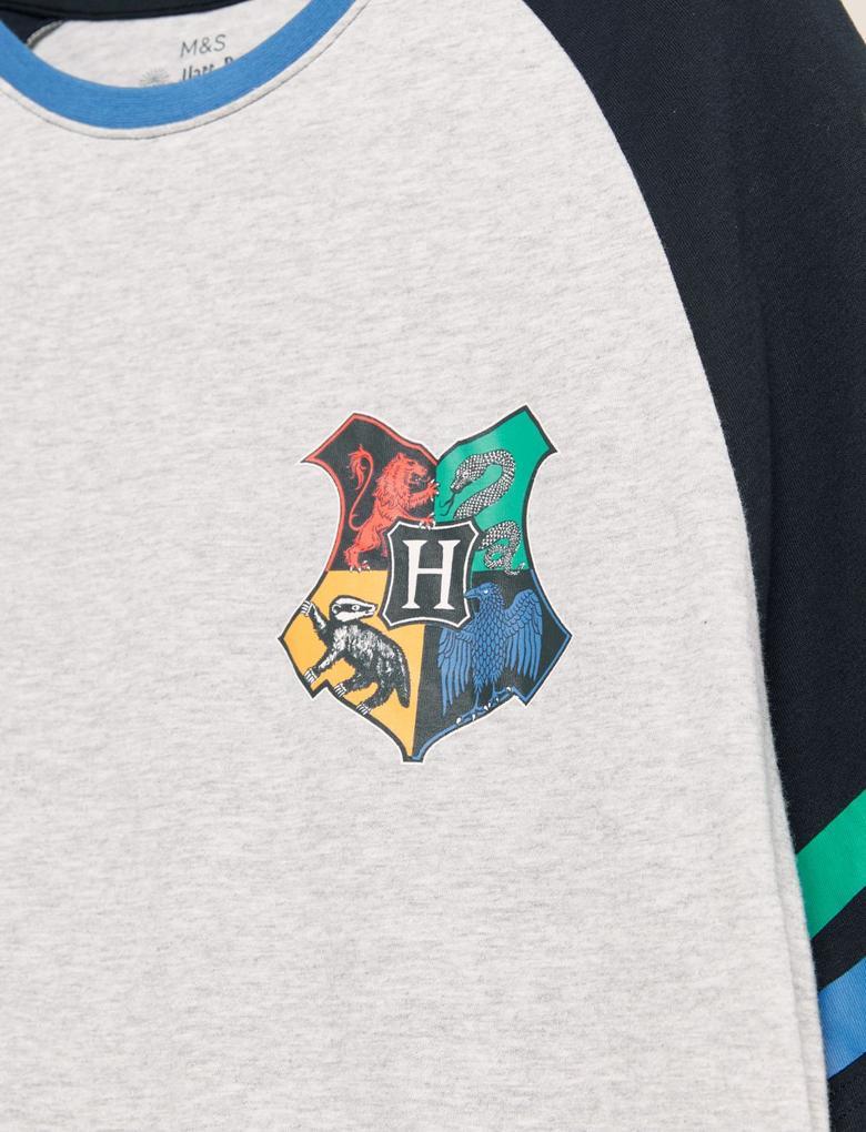 Erkek Lacivert Saf Pamuklu Harry Potter™ Pijama Seti