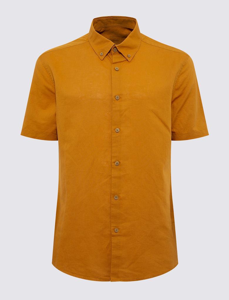 Erkek Sarı Kısa Kollu Gömlek