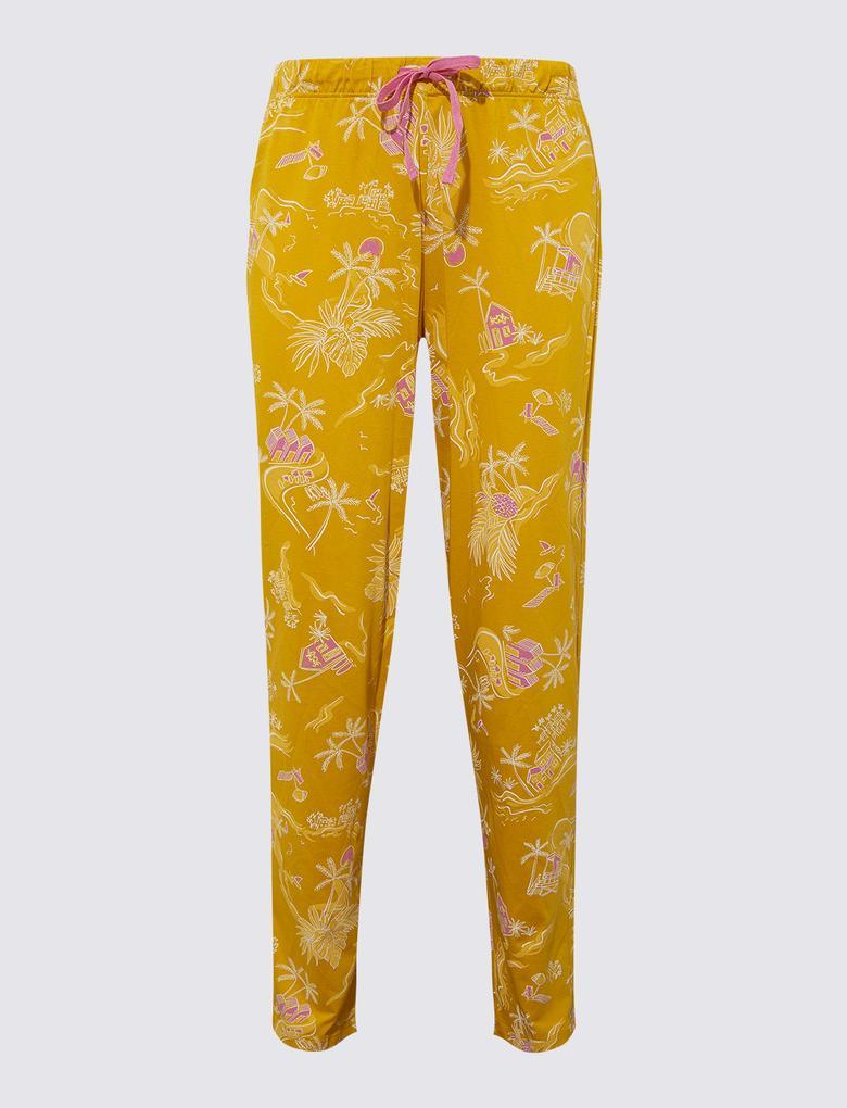 Kadın Sarı Palmiye Desenli Pijama Seti