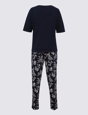 Kadın Lacivert Yaprak Desenli Pijama Seti