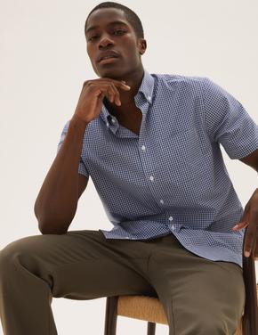 Erkek Mavi Kolay Ütülenebilir Pamuklu Gömlek