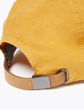 Erkek Sarı Saf Pamuklu Şapka