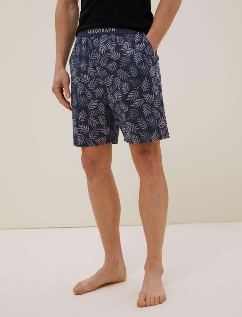 Erkek Pembe Pamuklu Tencel™ Pijama Şortu