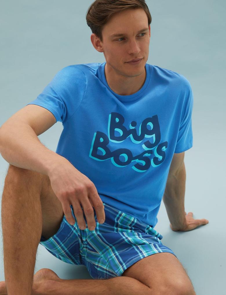 Erkek Mavi Saf Pamuklu Grafik Desenli Pijama Seti