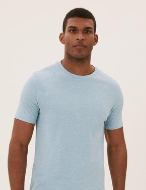 Erkek Mavi Saf Pamuklu Yuvarlak Yaka T-shirt