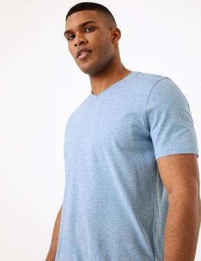 Erkek Mavi Saf Pamuklu V Yaka T-Shirt