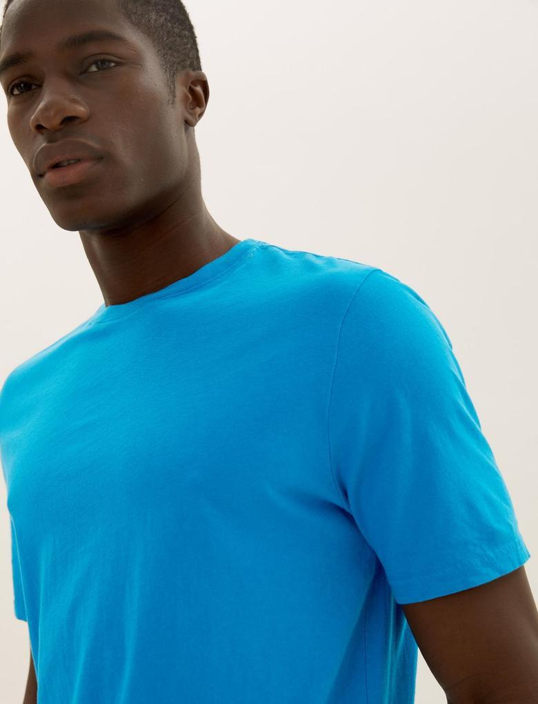 Yeşil Saf Pamuklu Yuvarlak Yaka T-shirt