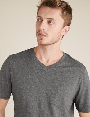 Erkek Gri Saf Pamuklu V Yaka T-Shirt