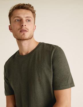 Erkek Yeşil Saf Pamuklu Yuvarlak Yaka T-shirt