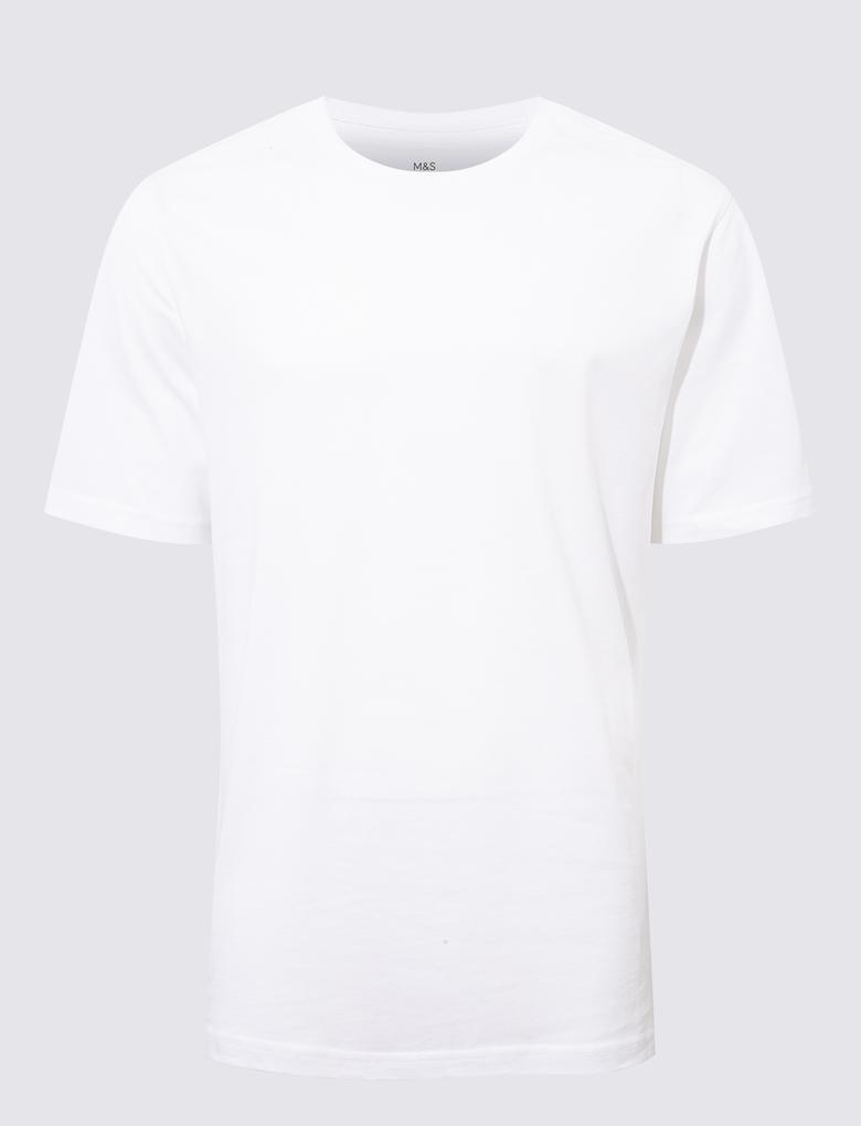 Beyaz Saf Pamuklu Yuvarlak Yaka T-Shirt