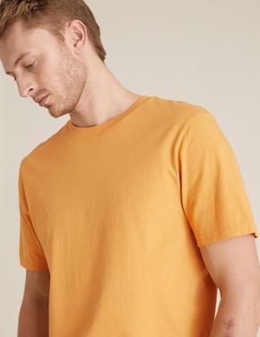 Sarı Saf Pamuklu Yuvarlak Yaka T-shirt