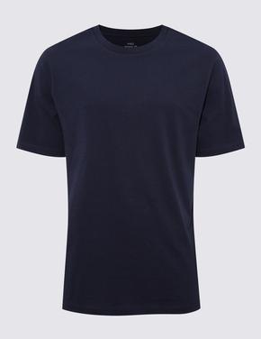 Erkek Lacivert Saf Pamuklu Yuvarlak Yaka T-Shirt